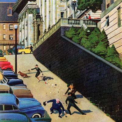 """""""Spilled Purse on Steep Hill"""", March 26, 1955-John Falter-Giclee Print"""