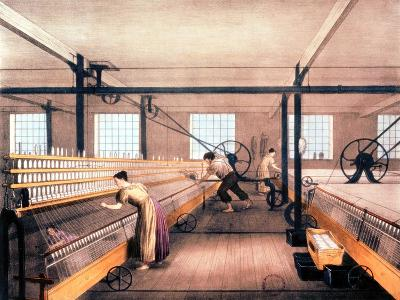 Spinning Cotton with Self-Acting Mules of the Type in 1825--Giclee Print