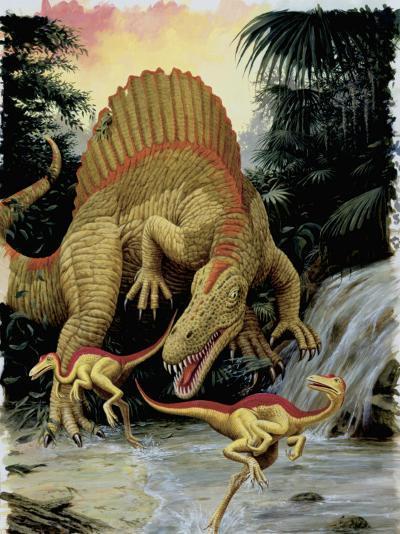 Spinosaurus Dinosaur Hunting Another Dinosaurs--Photographic Print