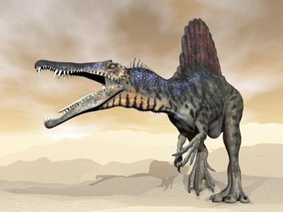 Spinosaurus Dinosaur Roaring in the Desert