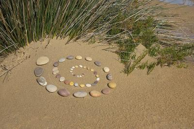 Spiral of Pebble Stones in the Sand-Andrea Haase-Photographic Print