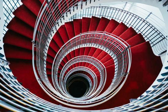 Spiral Staircase, Nordic Style and Design Hilton Reykjavik Iceland-Vincent James-Photographic Print