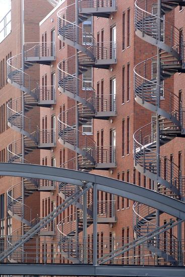Spiral Staircases on Facades of Some Former Warehouses Destined for Repurposing--Photographic Print