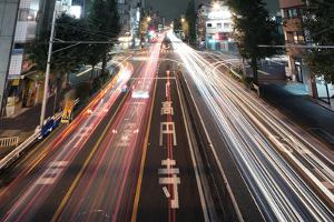 Traffic Trails at Night, Tokyo by spiraldelight