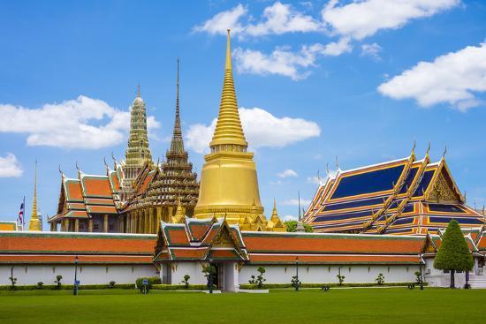 Spires and Stupas of Temple of the Emerald Buddha (Wat Phra Kaew), Grand Palace Complex, Bangkok-Jason Langley-Photographic Print
