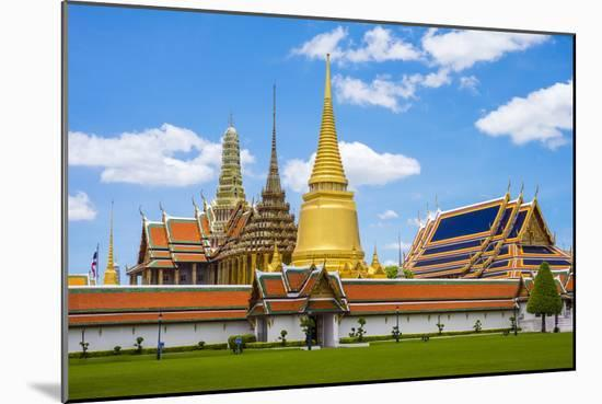 Spires and Stupas of Temple of the Emerald Buddha (Wat Phra Kaew), Grand Palace Complex, Bangkok-Jason Langley-Mounted Photographic Print