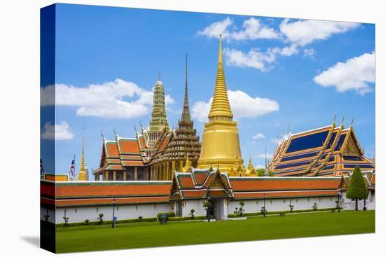 Spires and Stupas of Temple of the Emerald Buddha (Wat Phra Kaew), Grand Palace Complex, Bangkok-Jason Langley-Stretched Canvas Print