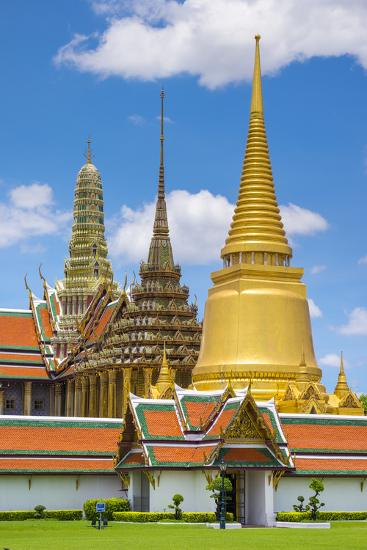 Spires of the Temple of the Emerald Buddha (Wat Phra Kaew), Grand Palace Complex, Bangkok-Jason Langley-Photographic Print