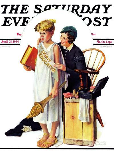 """Spirit of Education"" Saturday Evening Post Cover, April 21,1934-Norman Rockwell-Giclee Print"