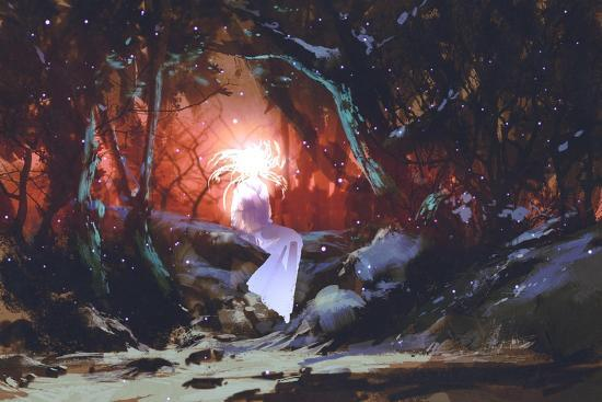 Spirit of the Enchanted Forest,Woman in the Dark Woods,Illustration Painting-Tithi Luadthong-Art Print