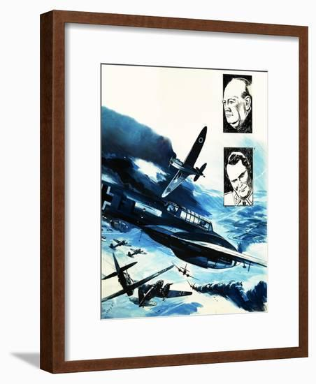 Spitfires in a Dogfight with German Messerschmitts-Gerry Wood-Framed Giclee Print