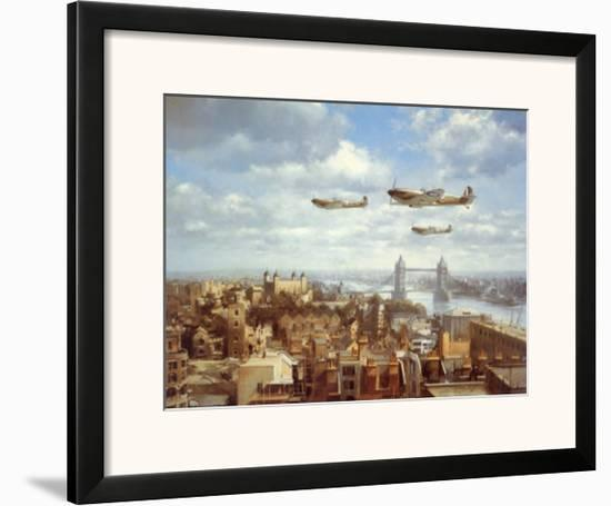 Spitfires Over London-J. Young-Framed Art Print