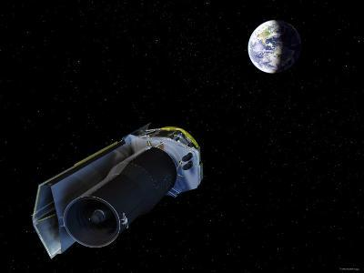 Spitzer Points Its High-Gain Antenna Towards the Earth for Downlinking and Uplinking Observations-Stocktrek Images-Photographic Print