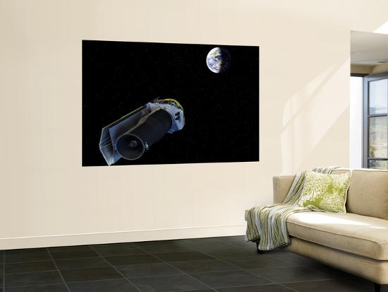 Spitzer Points Its High-Gain Antenna Towards the Earth for Downlinking and Uplinking Observations--Wall Mural