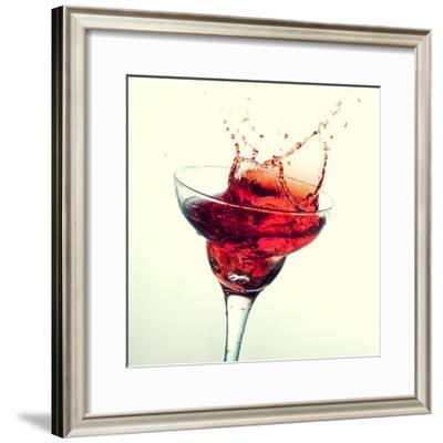 Splashing Margarita Cocktail-nikkytok-Framed Photographic Print