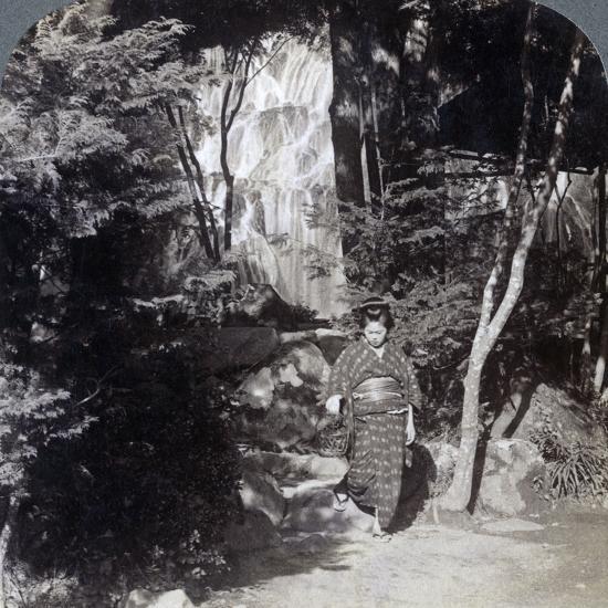 Splashing Waters of a Waterfall at Yumoto, Japan, 1904-Underwood & Underwood-Photographic Print