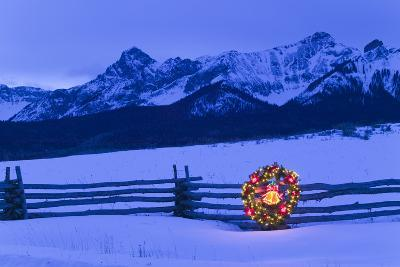 Split Rail Fence Decorated with Wreath and Christmas Tree Colorado Winter-Design Pics Inc-Photographic Print