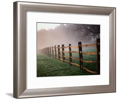 Split-Rail Fence in the Early Morning Mist-Richard Nowitz-Framed Photographic Print