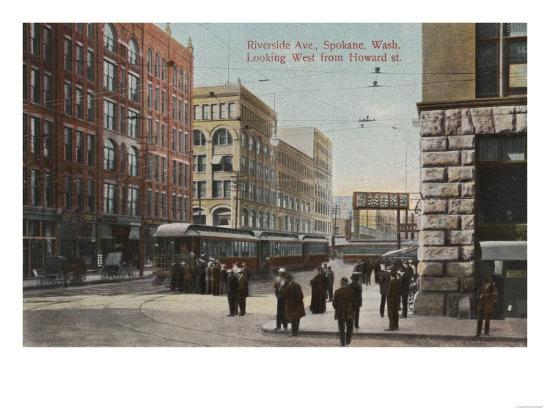 Spokane, WA - View of Riverside Ave. & Howard St.-Lantern Press-Art Print