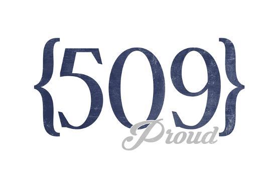Spokane, Washington - 509 Area Code (Blue)-Lantern Press-Art Print