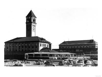 Spokane, Washington - Exterior View of Great Northern and Union Depots-Lantern Press-Art Print
