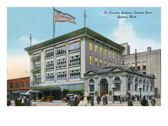 Spokane, Washington, Exterior View of the Crescent Store Building-Lantern Press-Art Print