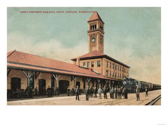 Spokane, Washington - Great Northern Railroad Depot-Lantern Press-Art Print
