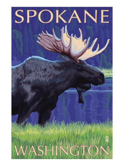 Spokane, Washington, Moose at Night-Lantern Press-Art Print
