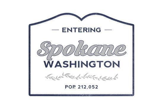 Spokane, Washington - Now Entering (Blue)-Lantern Press-Art Print