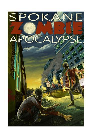 Spokane, Washington - Zombie Apocalypse-Lantern Press-Art Print