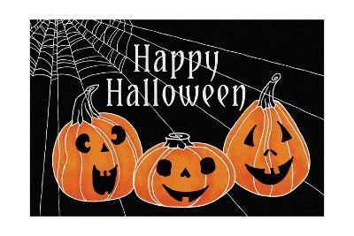 Spooky Jack O Lanterns Three Pumpkins-Elyse DeNeige-Art Print