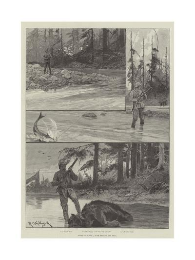 Sport in Alaska, with Salmon and Bear-Richard Caton Woodville II-Giclee Print