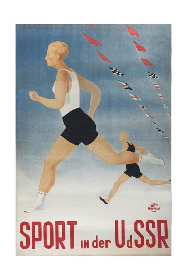 Sport in the USSR (Poster of the Intourist Compan), 1935-Olga Vyacheslavovna Eyges-Giclee Print