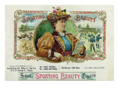 Sporting Beauty Brand Cigar Inner Box Label, Horse Racing-Lantern Press-Art Print