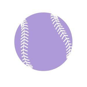 Purple Softball on White by Sports Mania