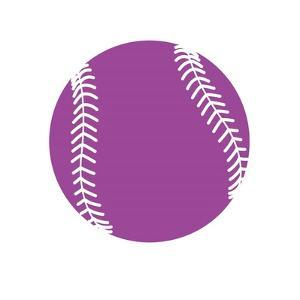 Violet Softball on White by Sports Mania