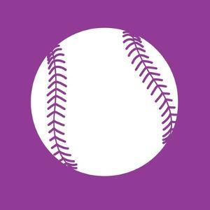 White Softball on Violet by Sports Mania