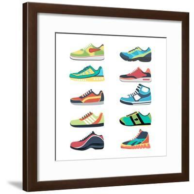 Sports Shoes Vector Set. Fashion Sportwear, Everyday Sneaker, Footwear Clothing Illustration-MSSA-Framed Premium Giclee Print