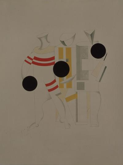 Sportsmen, Figurine for the Opera Victory over the Sun by A. Kruchenykh, 1920-1921-El Lissitzky-Giclee Print