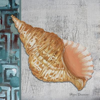 Spotted Conch Seashell - Side Border and Gray Crackle Back-Megan Aroon Duncanson-Giclee Print