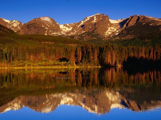 Sprague Lake Provides a Near-Perfect Mirror for the Surrounding Mountains, Colorado, USA-Gareth McCormack-Photographic Print