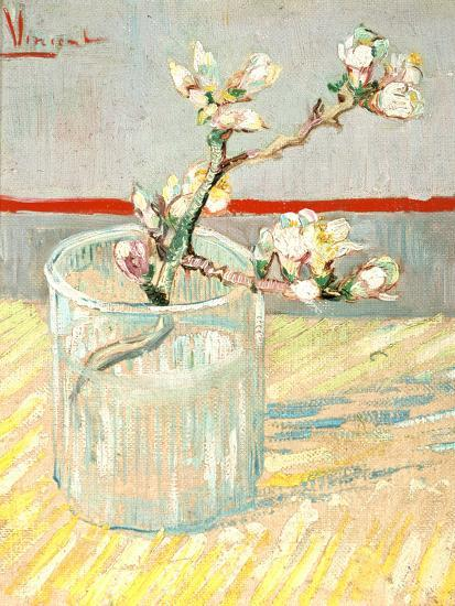 Sprig of Flowering Almond Blossom in a Glass, 1888-Vincent van Gogh-Premium Giclee Print