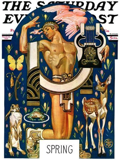 """Spring 1929,"" Saturday Evening Post Cover, March 30, 1929-Joseph Christian Leyendecker-Giclee Print"