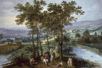 Spring, a Landscape with Elegant Company on a Tree-Lined Road- Joos de Momper and Jan Brueghel-Giclee Print