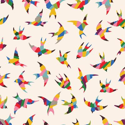 Spring Birds Seamless Pattern. Colorful Texture on White Background- tets-Art Print