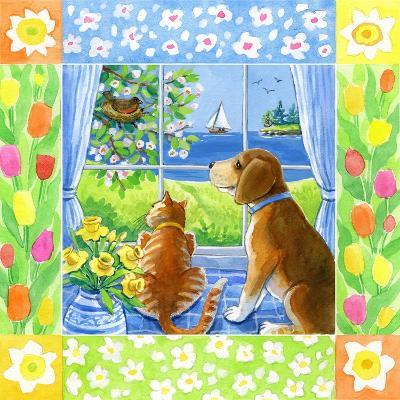 Spring Cat and Dog-Geraldine Aikman-Giclee Print