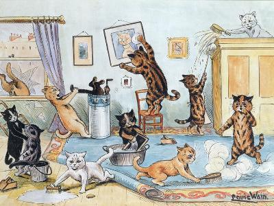 Spring Cleaning-Louis Wain-Giclee Print
