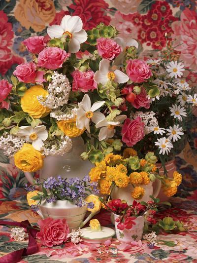 Spring Flower Arrangement, Ranunculus Asiaticus, Rosa Narcissus and Myosotis-Erika Craddock-Photographic Print
