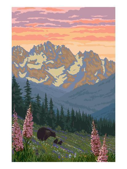 Spring Flowers and Bear Family Mountains-Lantern Press-Art Print