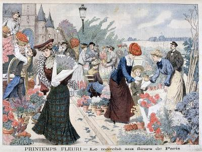Spring Flowers in a Market, Paris, 1903--Giclee Print